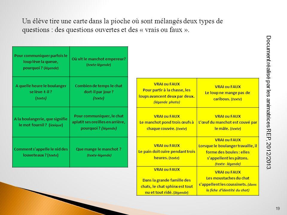 Un élève tire une carte dans la pioche où sont mélangés deux types de questions : des questions ouvertes et des « vrais ou faux ».