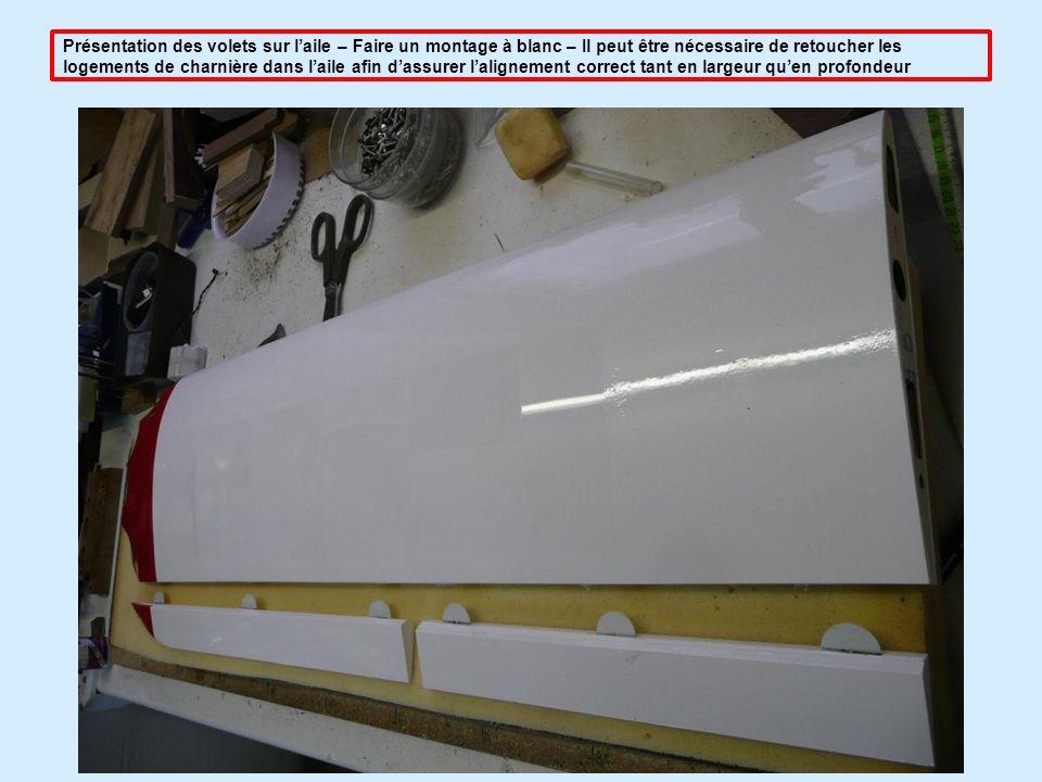 Présentation des volets sur l'aile – Faire un montage à blanc – Il peut être nécessaire de retoucher les logements de charnière dans l'aile afin d'assurer l'alignement correct tant en largeur qu'en profondeur