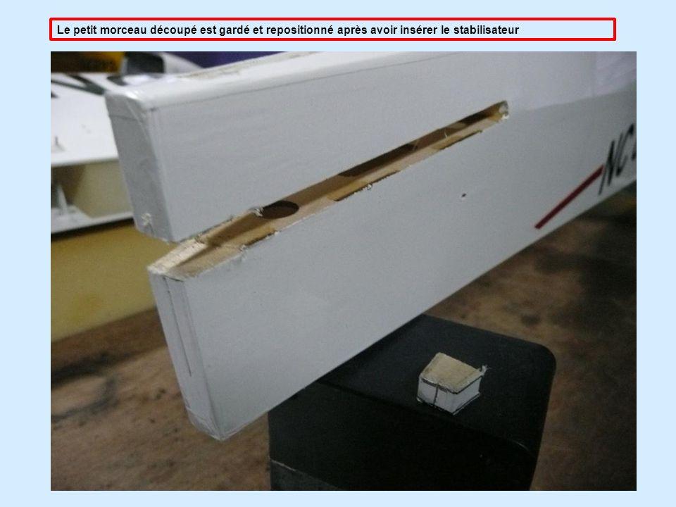 Le petit morceau découpé est gardé et repositionné après avoir insérer le stabilisateur