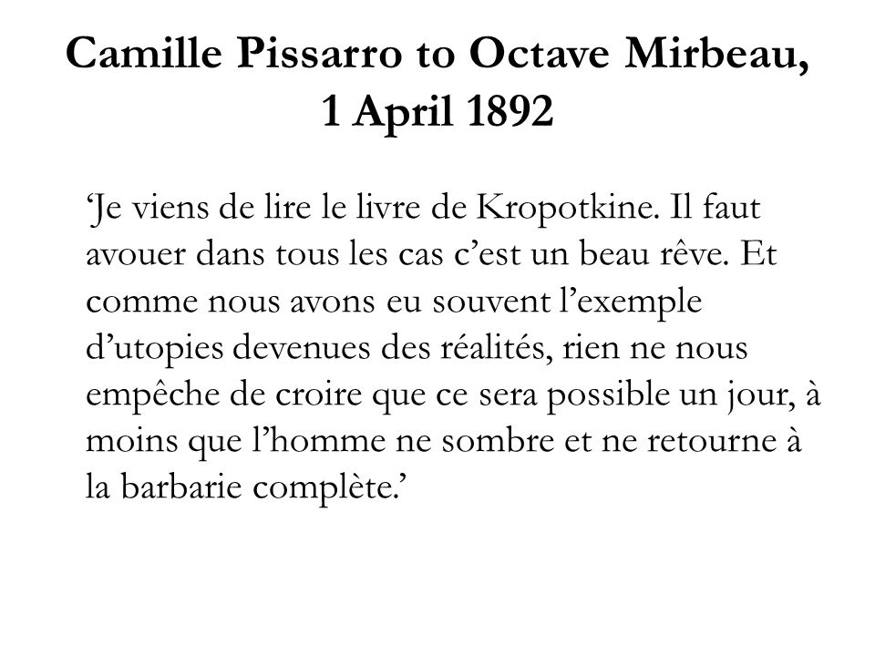Camille Pissarro to Octave Mirbeau, 1 April 1892