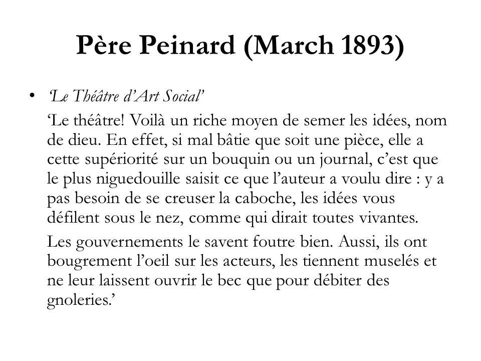 Père Peinard (March 1893) 'Le Théâtre d'Art Social'
