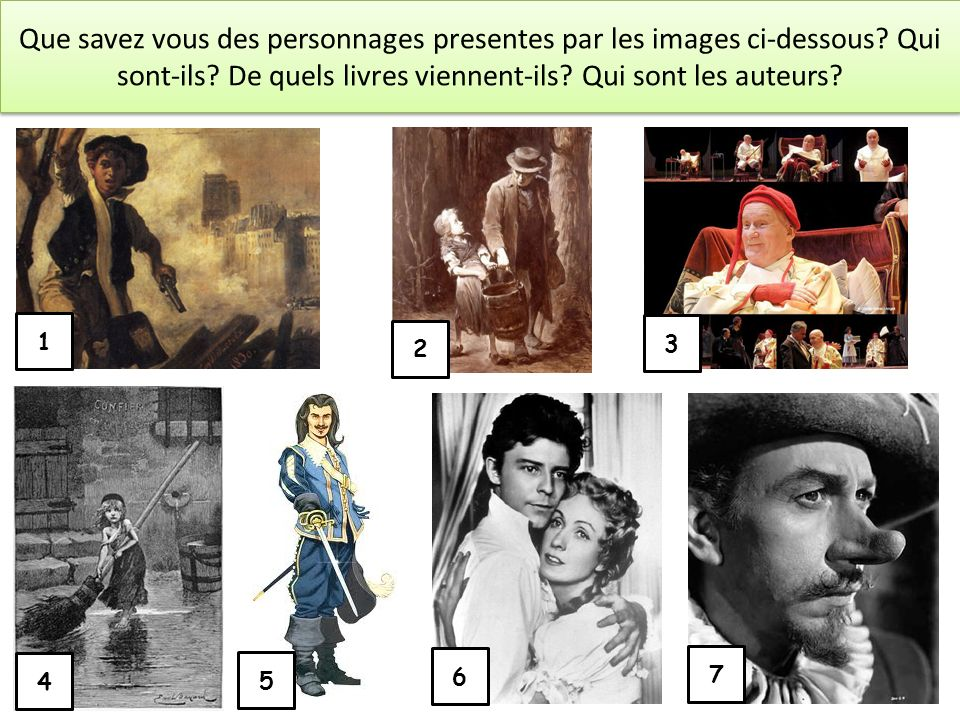 Que savez vous des personnages presentes par les images ci-dessous