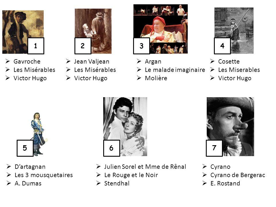 1 2. 3. 4. Gavroche. Les Misérables. Victor Hugo. Jean Valjean. Les Misérables. Victor Hugo.