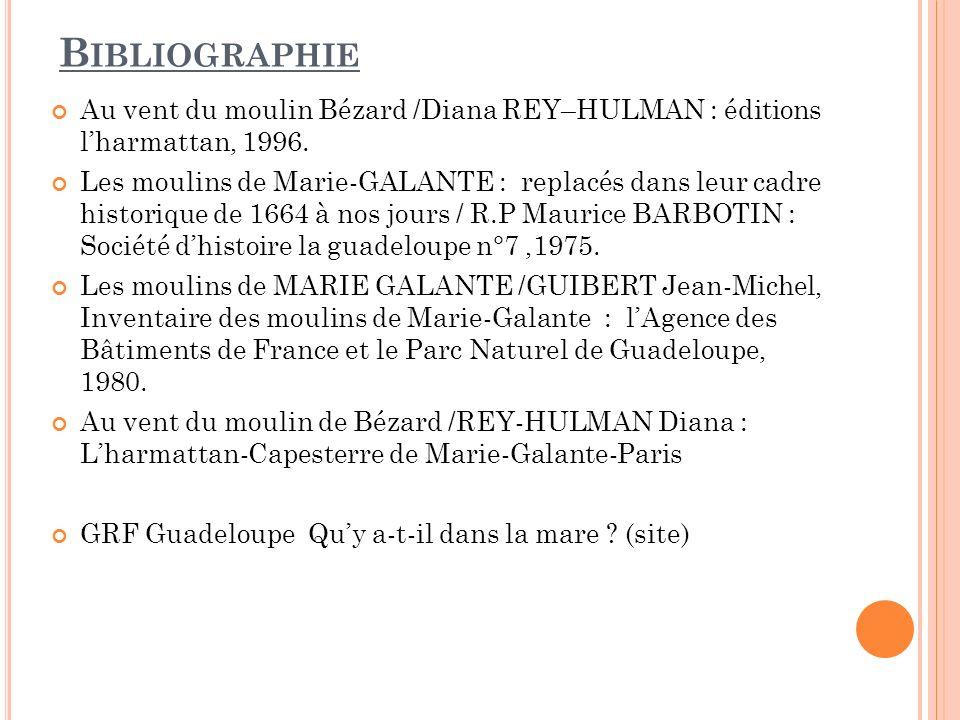 Bibliographie Au vent du moulin Bézard /Diana REY–HULMAN : éditions l'harmattan, 1996.