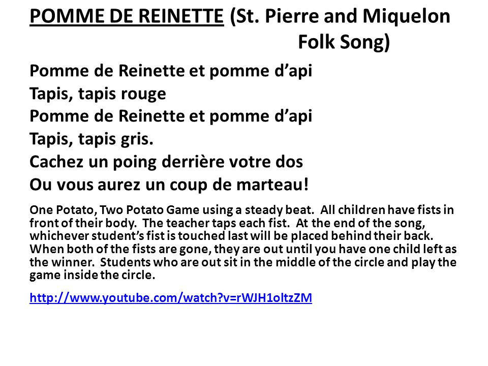 POMME DE REINETTE (St. Pierre and Miquelon Folk Song)