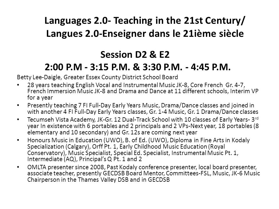 Languages 2. 0- Teaching in the 21st Century/ Langues 2