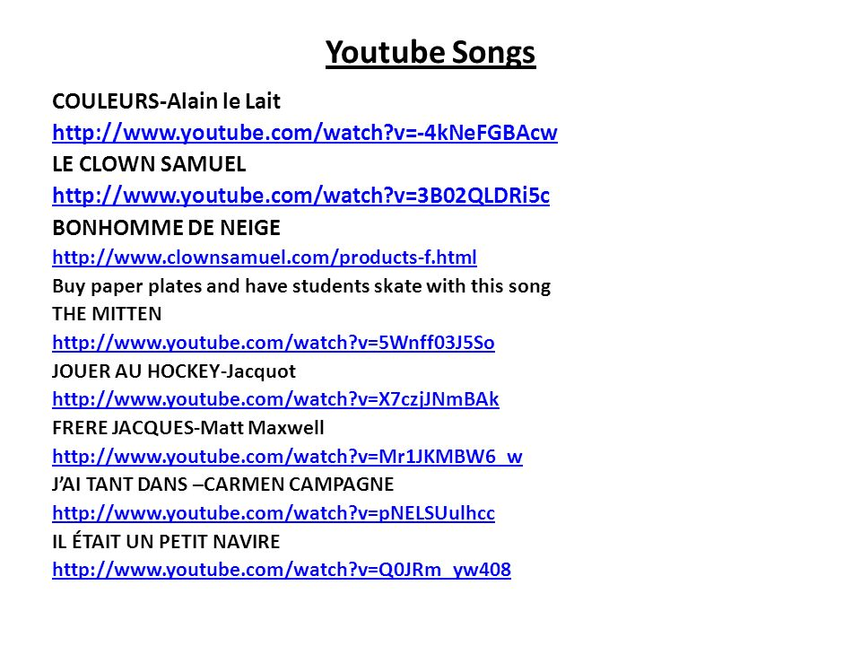 Youtube Songs COULEURS-Alain le Lait