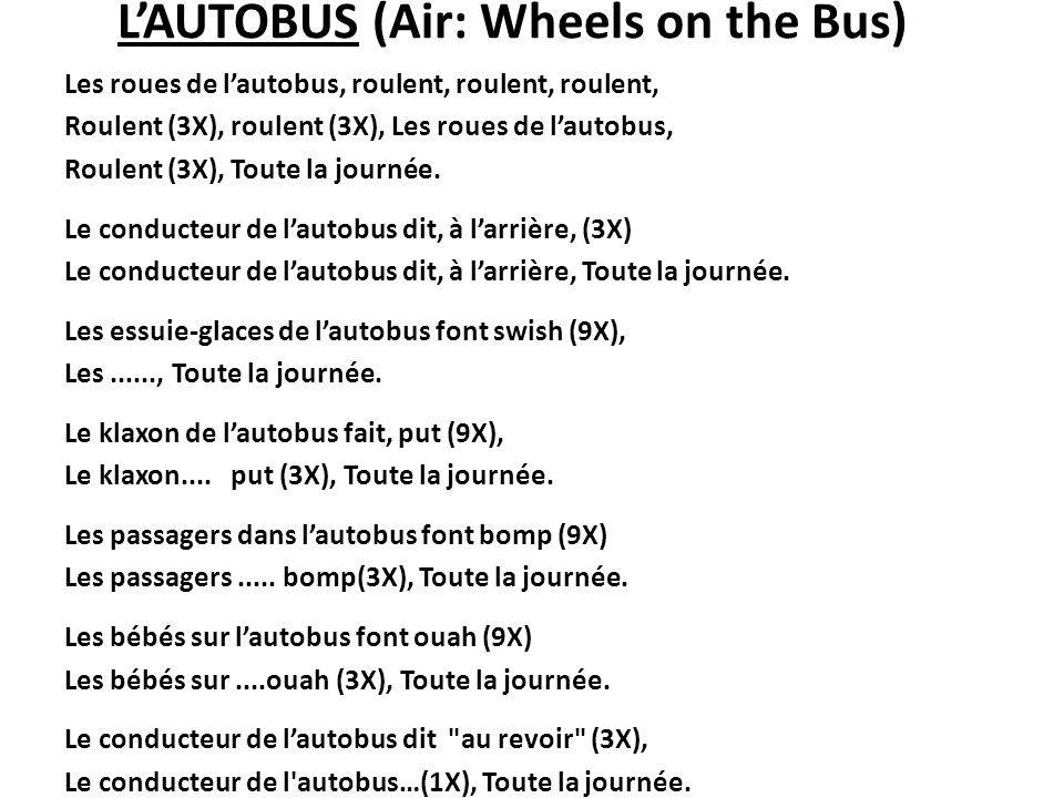 L'AUTOBUS (Air: Wheels on the Bus)