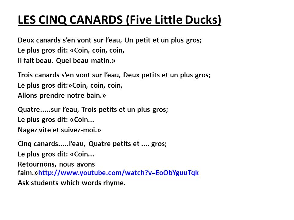 LES CINQ CANARDS (Five Little Ducks)