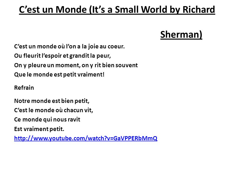 C'est un Monde (It's a Small World by Richard Sherman)
