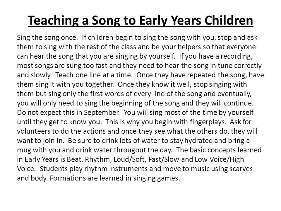 Teaching a Song to Early Years Children