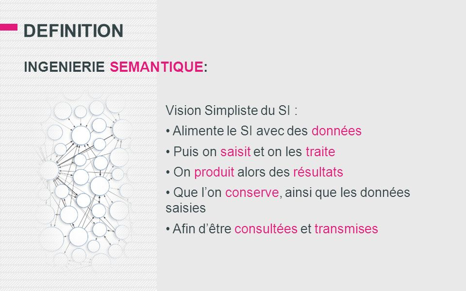 DEfinition INGENIERIE SEMANTIQUE: Vision Simpliste du SI :