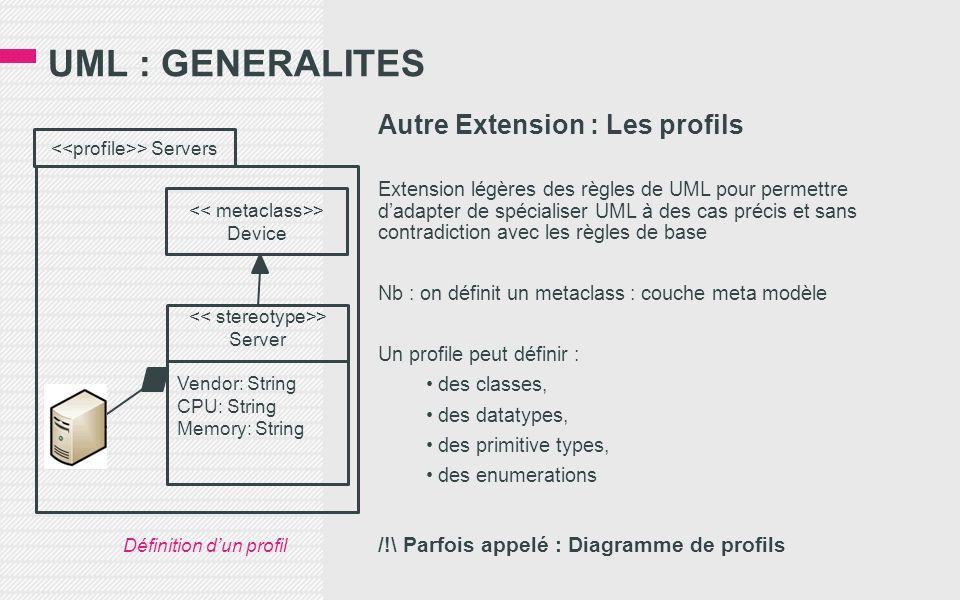 UML : GENERALITES Autre Extension : Les profils