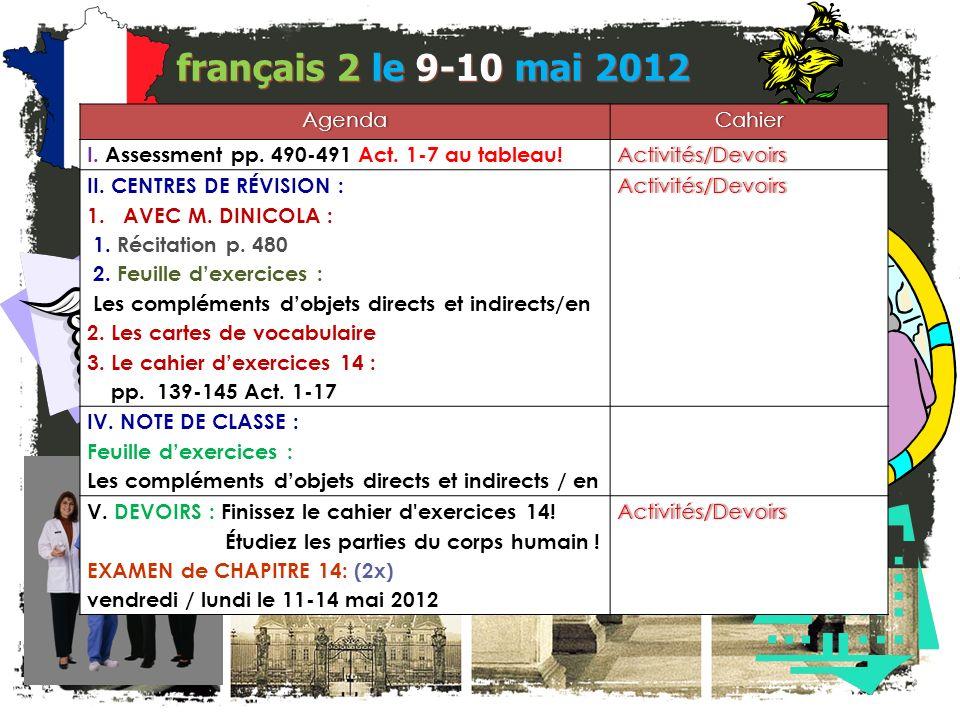 français 2 le 9-10 mai 2012 Agenda Cahier