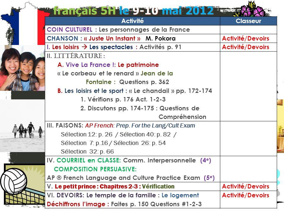 français 5H le 9-10 mai 2012 Activité Classeur