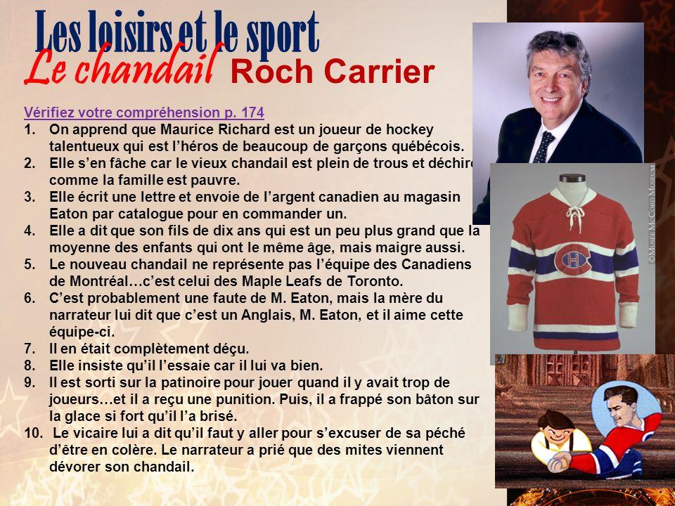 Les loisirs et le sport Le chandail Roch Carrier