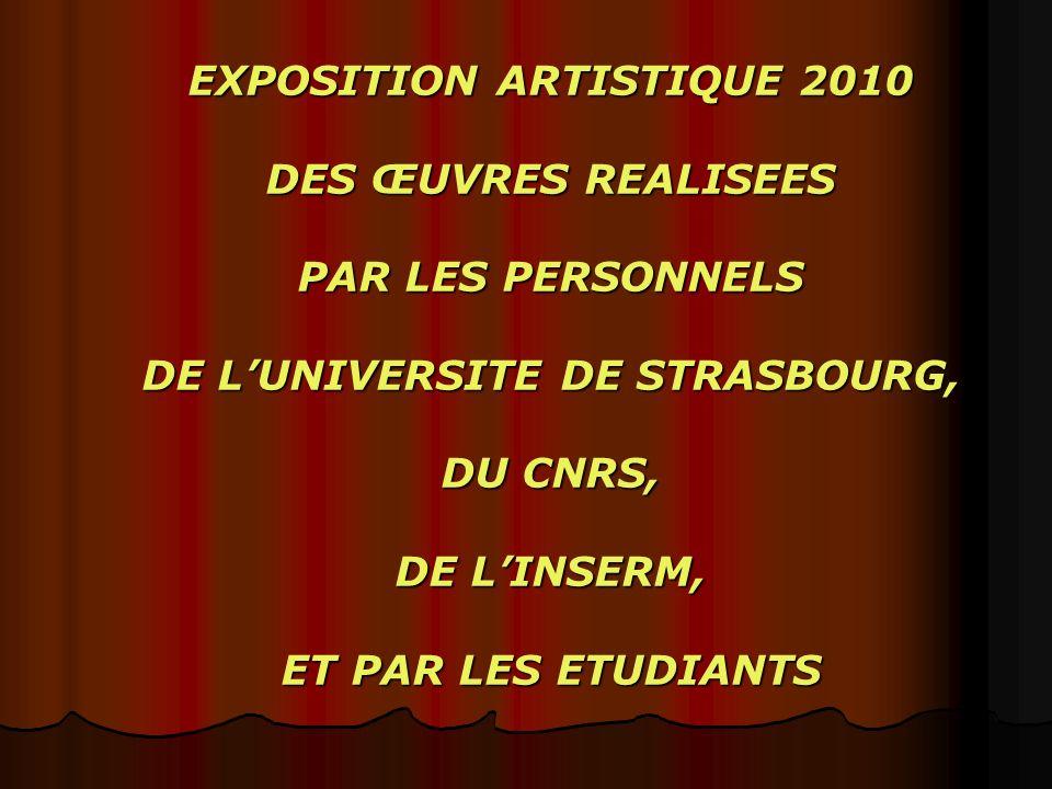 EXPOSITION ARTISTIQUE 2010 DES ŒUVRES REALISEES PAR LES PERSONNELS DE L'UNIVERSITE DE STRASBOURG, DU CNRS, DE L'INSERM, ET PAR LES ETUDIANTS
