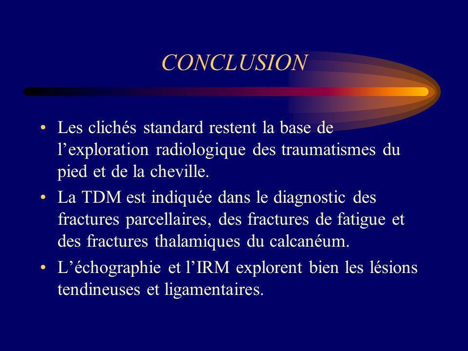 CONCLUSION Les clichés standard restent la base de l'exploration radiologique des traumatismes du pied et de la cheville.