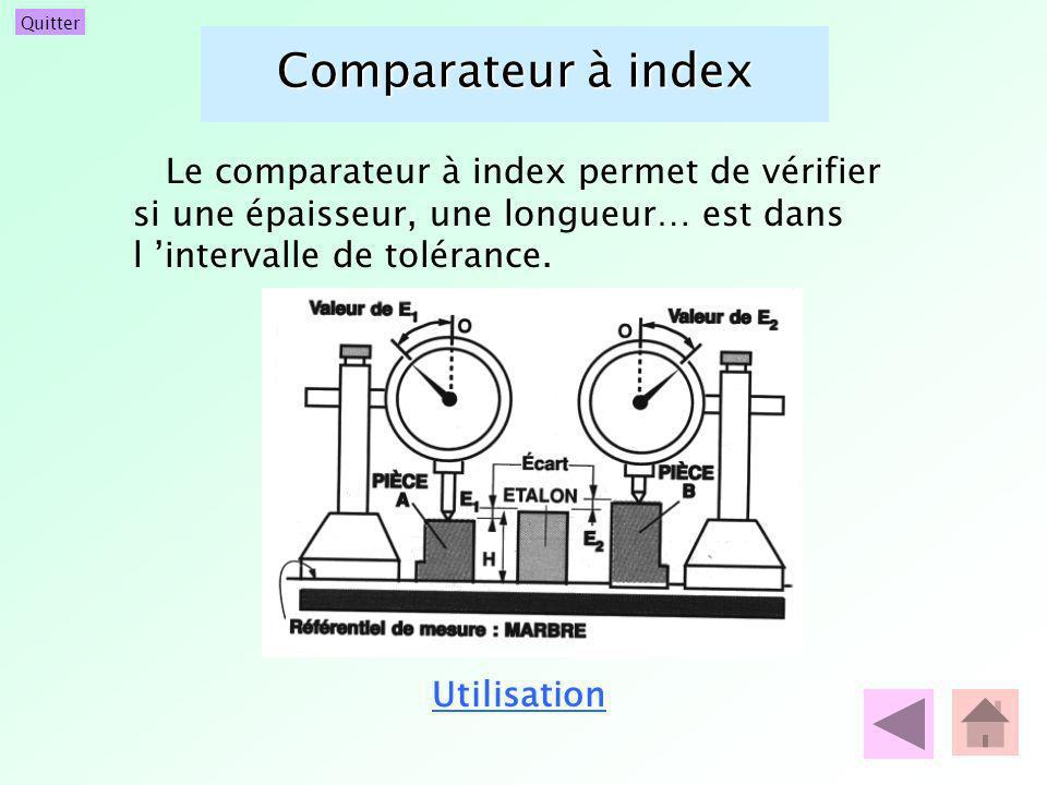 Comparateur à index Le comparateur à index permet de vérifier si une épaisseur, une longueur… est dans l 'intervalle de tolérance.