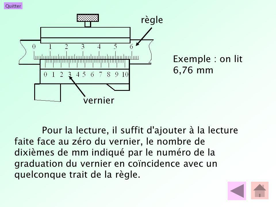 règle Exemple : on lit 6,76 mm. vernier.