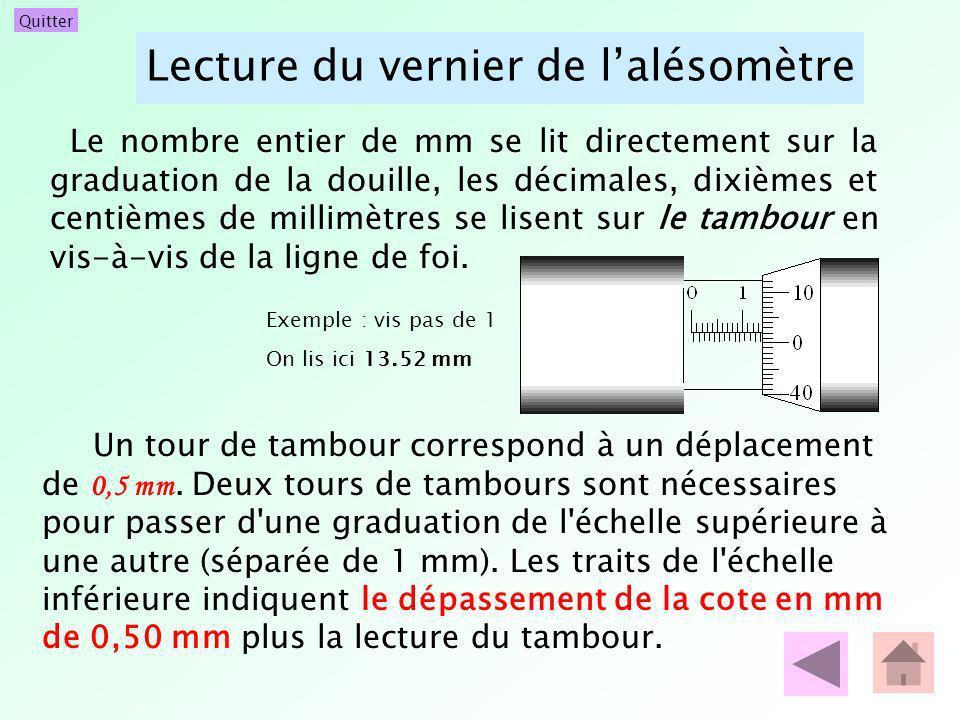 Lecture du vernier de l'alésomètre