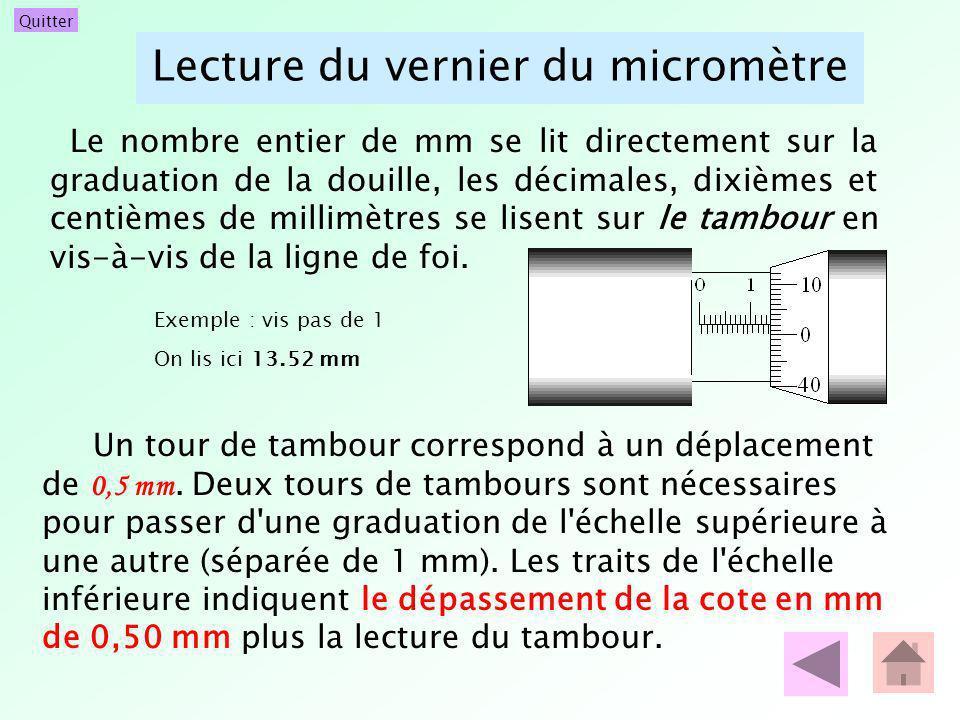 Lecture du vernier du micromètre