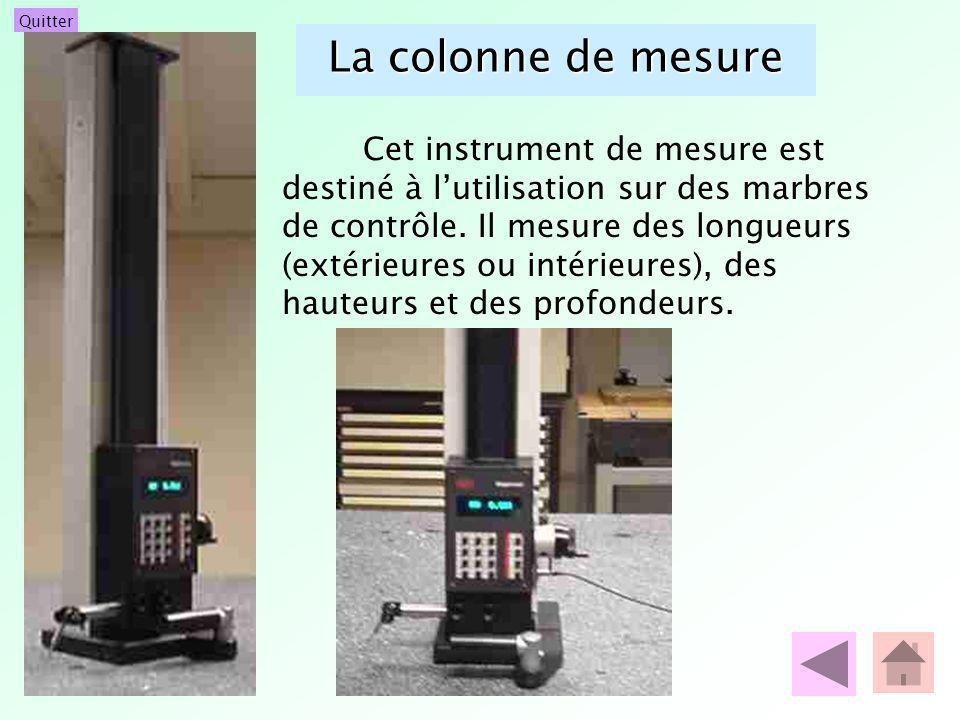La colonne de mesure