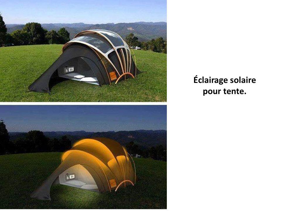Éclairage solaire pour tente.