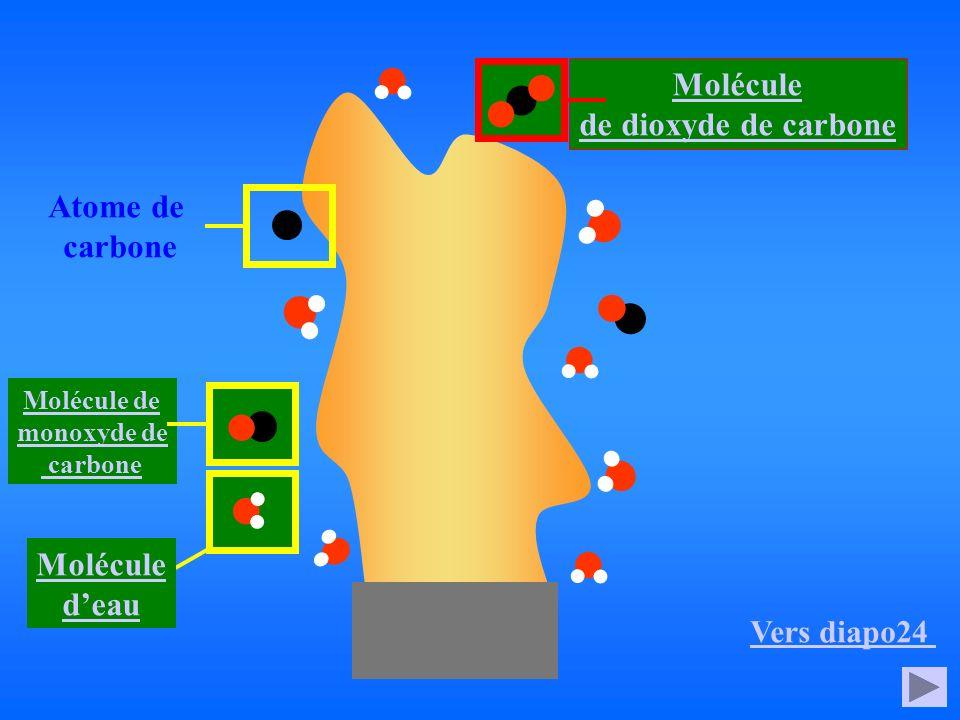 Molécule de dioxyde de carbone Atome de carbone Molécule d'eau