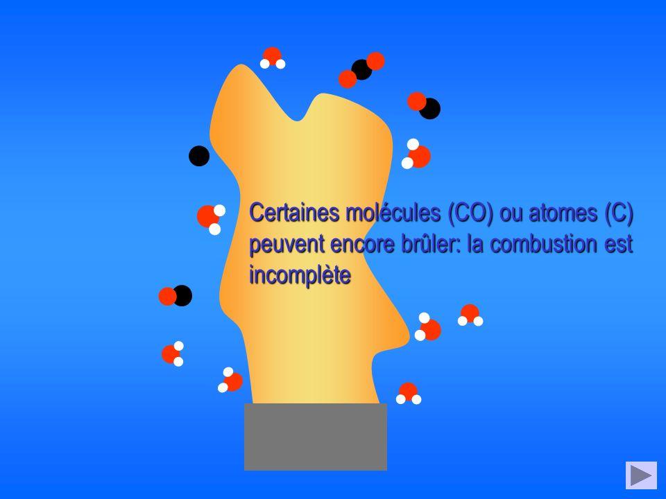 Certaines molécules (CO) ou atomes (C) peuvent encore brûler: la combustion est incomplète