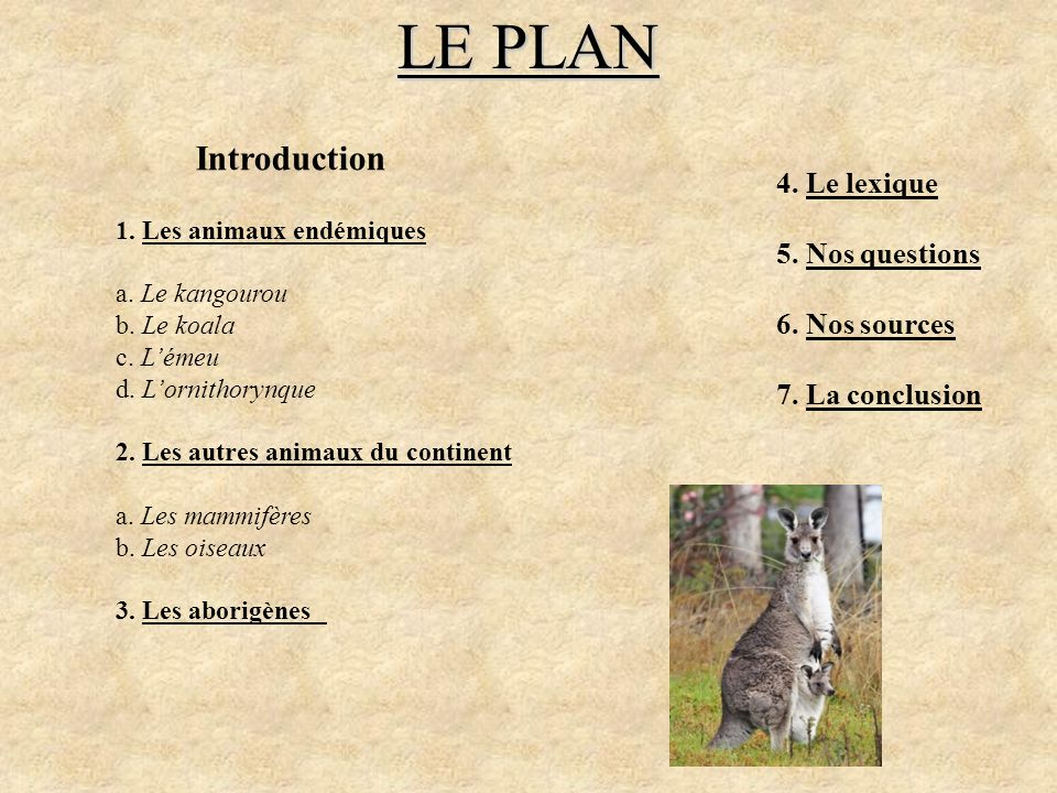 LE PLAN Introduction 4. Le lexique 5. Nos questions 6. Nos sources