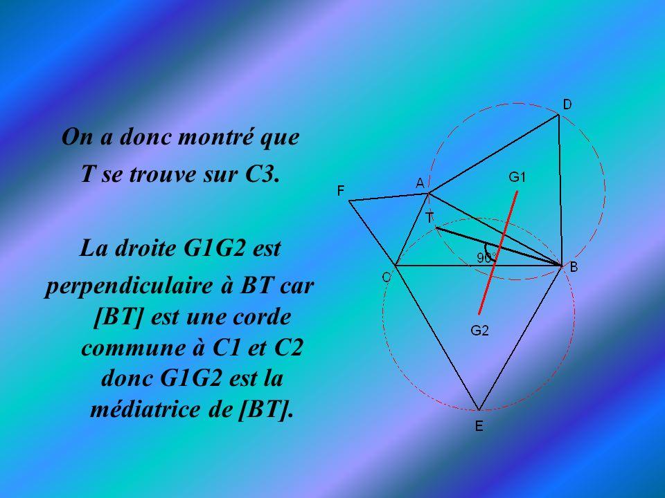 On a donc montré que T se trouve sur C3. La droite G1G2 est.
