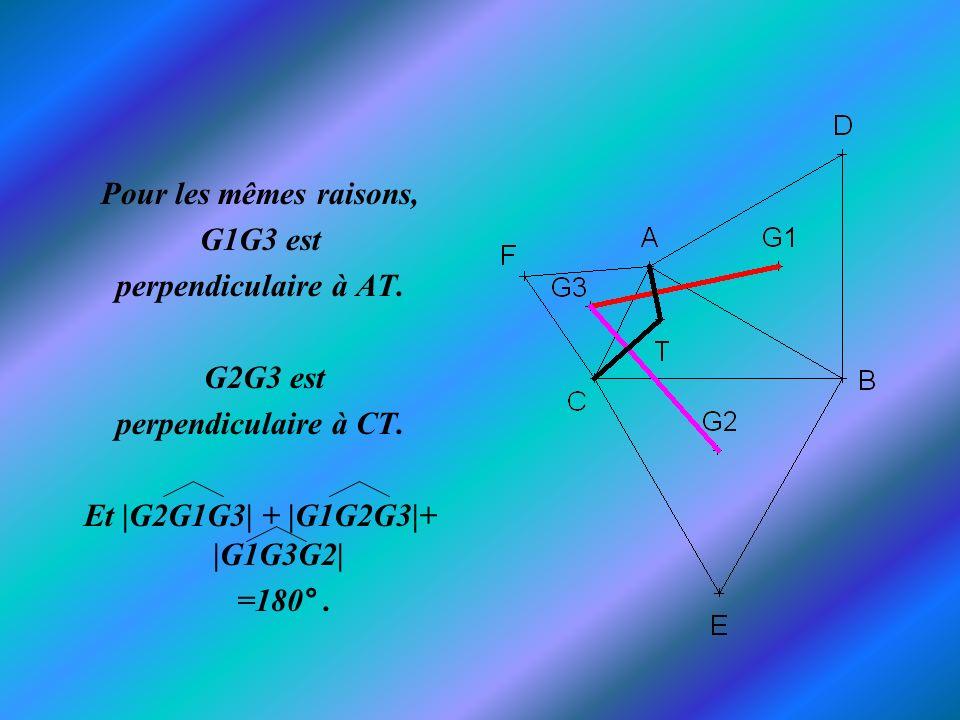 Pour les mêmes raisons, G1G3 est. perpendiculaire à AT. G2G3 est. perpendiculaire à CT. Et |G2G1G3| + |G1G2G3|+ |G1G3G2|