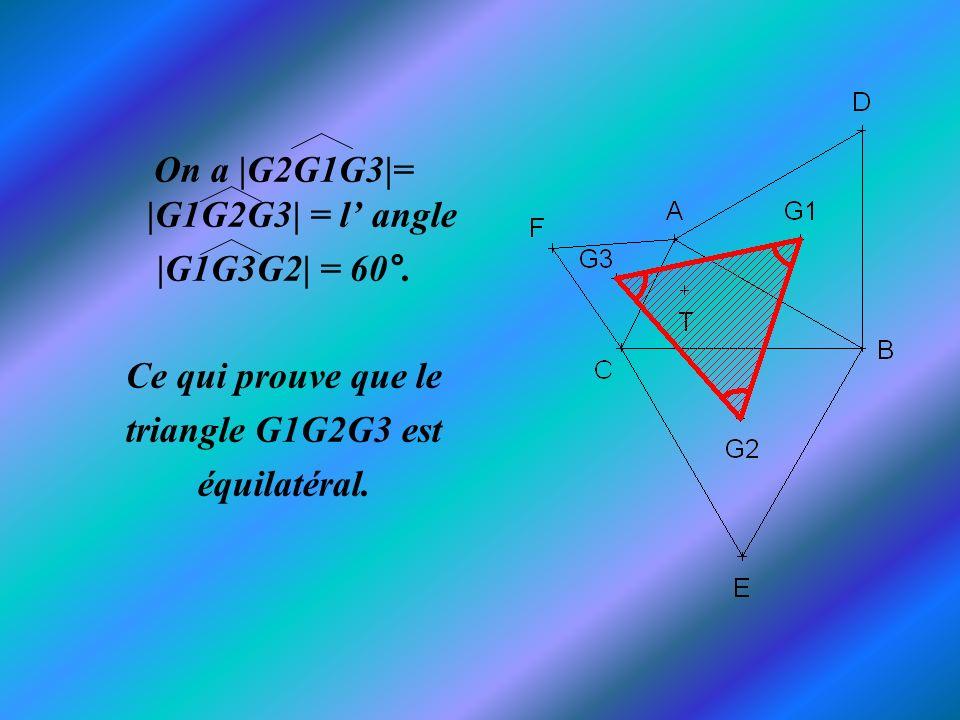 On a |G2G1G3|= |G1G2G3| = l' angle
