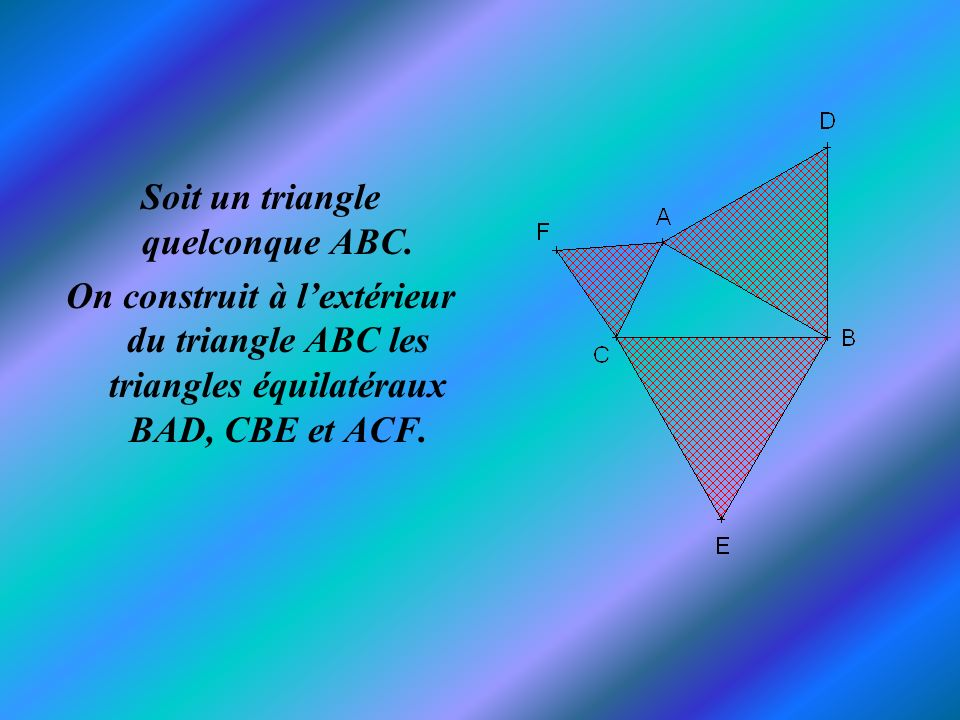Soit un triangle quelconque ABC.