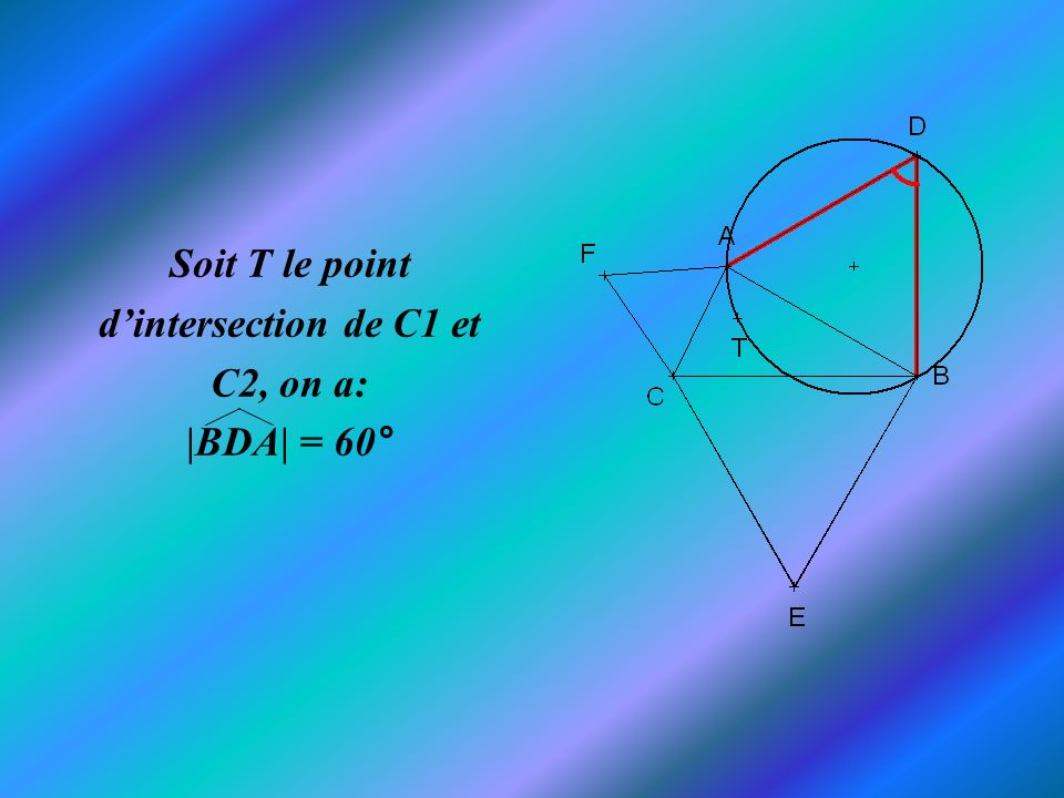 Soit T le point d'intersection de C1 et C2, on a: |BDA| = 60°
