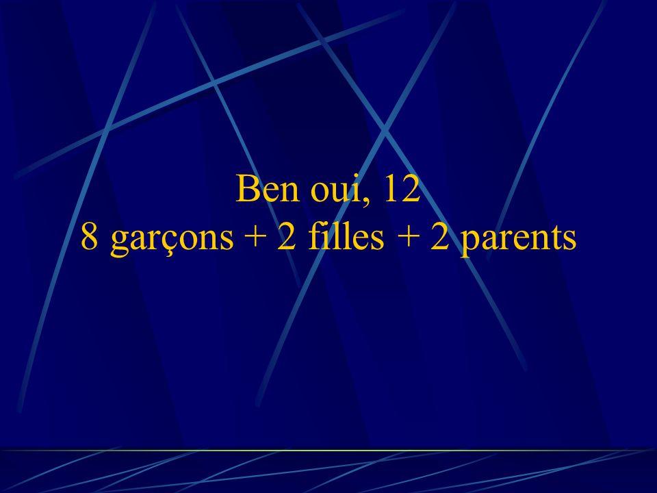 Ben oui, 12 8 garçons + 2 filles + 2 parents