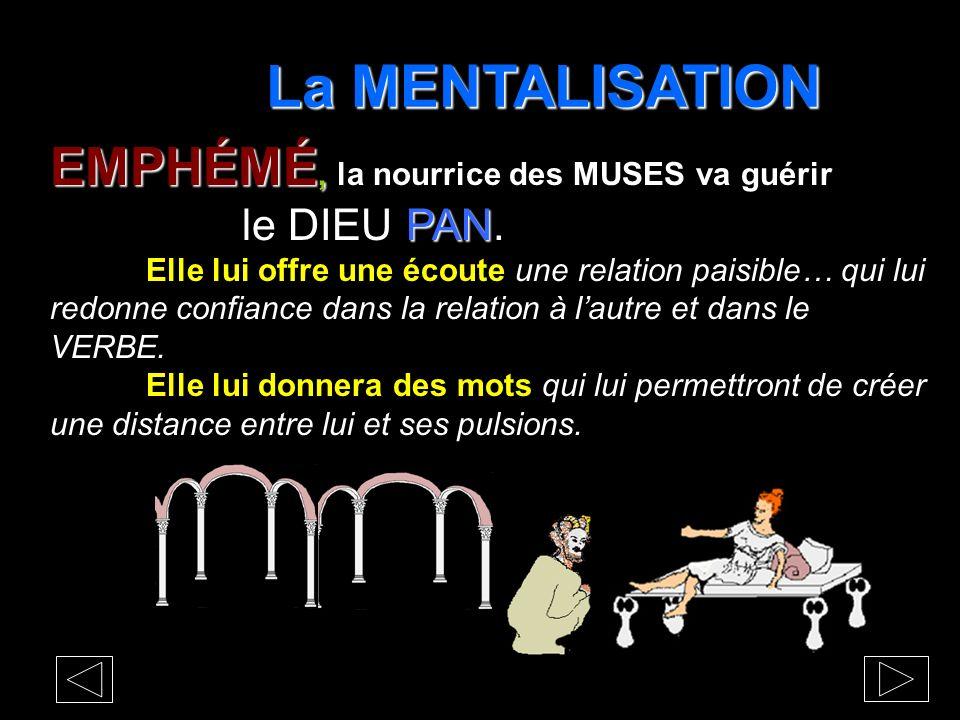 La MENTALISATION EMPHÉMÉ, la nourrice des MUSES va guérir le DIEU PAN.