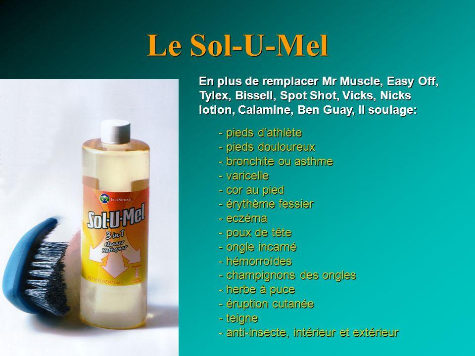 Le Sol-U-Mel En plus de remplacer Mr Muscle, Easy Off, Tylex, Bissell, Spot Shot, Vicks, Nicks lotion, Calamine, Ben Guay, il soulage: