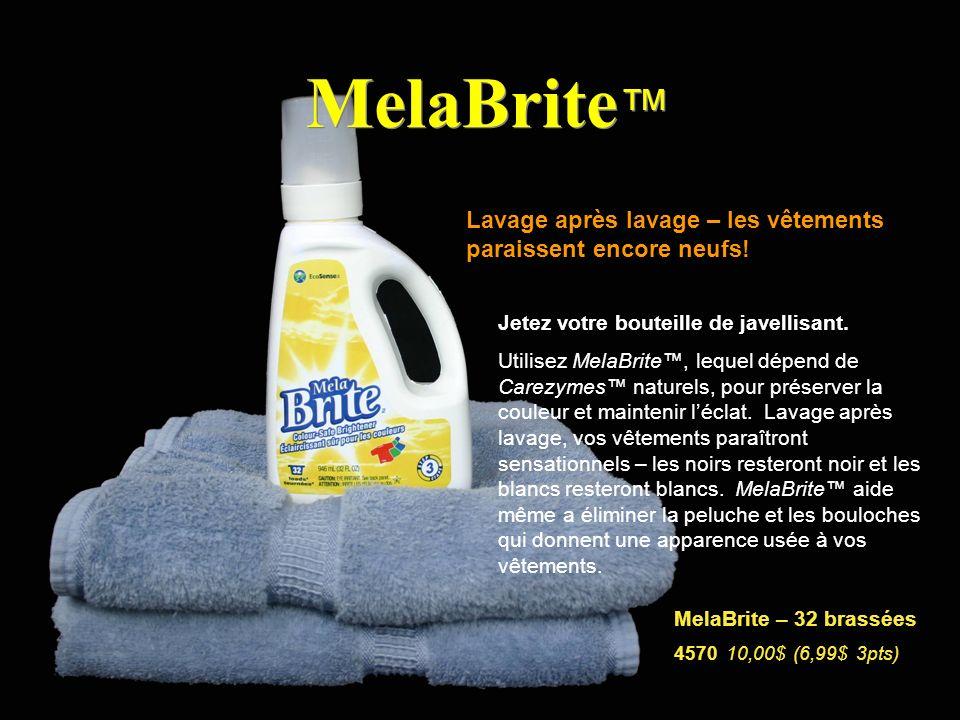 MelaBrite™ Lavage après lavage – les vêtements paraissent encore neufs! Jetez votre bouteille de javellisant.