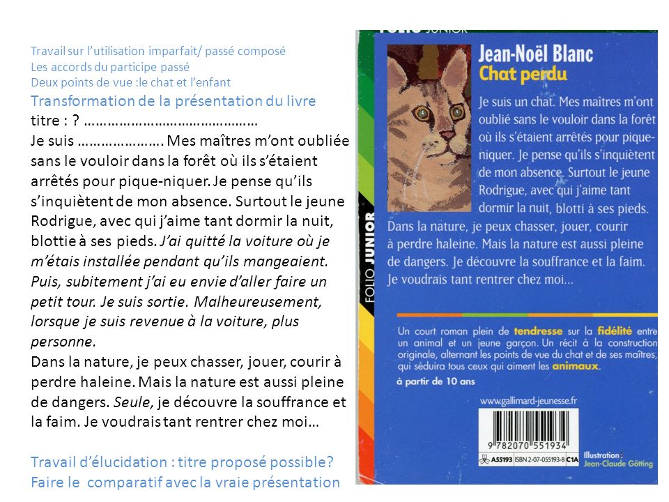 Transformation de la présentation du livre titre : ………………………………………