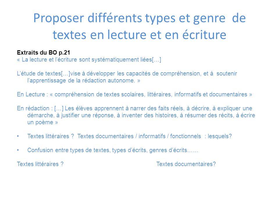 Proposer différents types et genre de textes en lecture et en écriture