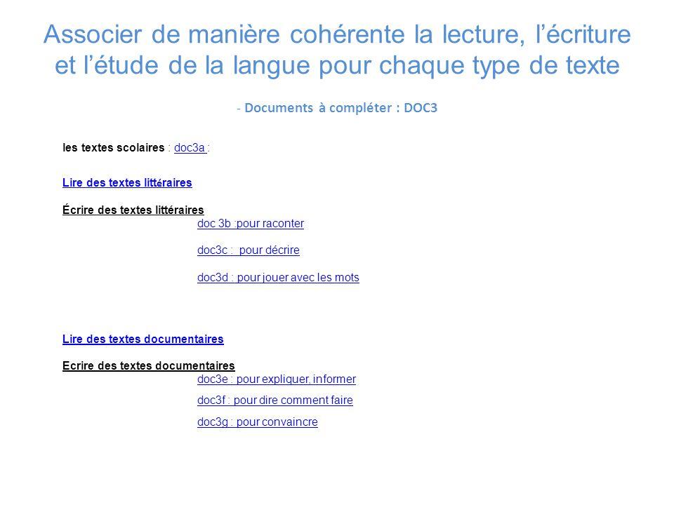 Associer de manière cohérente la lecture, l'écriture et l'étude de la langue pour chaque type de texte - Documents à compléter : DOC3