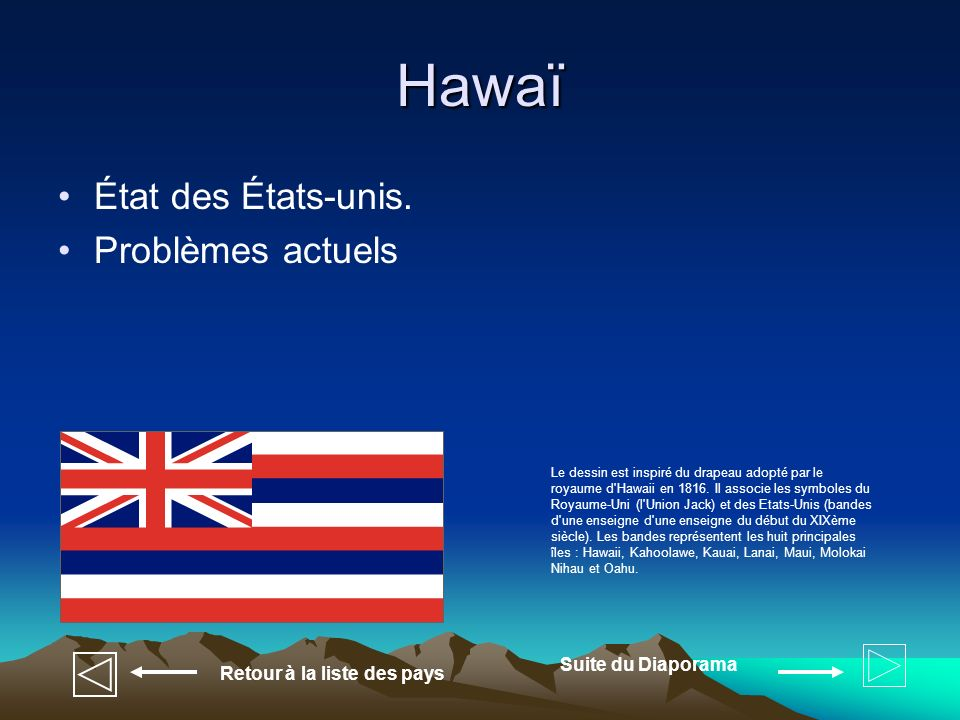 Hawaï État des États-unis. Problèmes actuels Suite du Diaporama