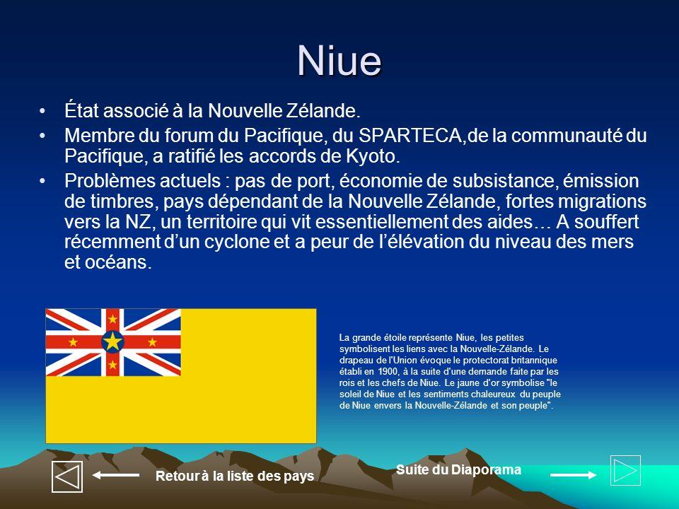 Niue État associé à la Nouvelle Zélande.