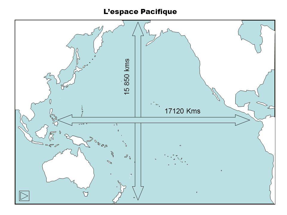 L'espace Pacifique 15 850 kms 17120 Kms