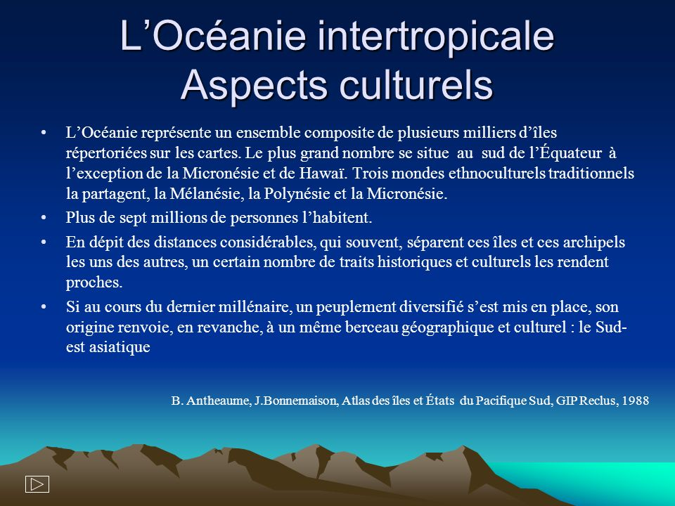 L'Océanie intertropicale Aspects culturels