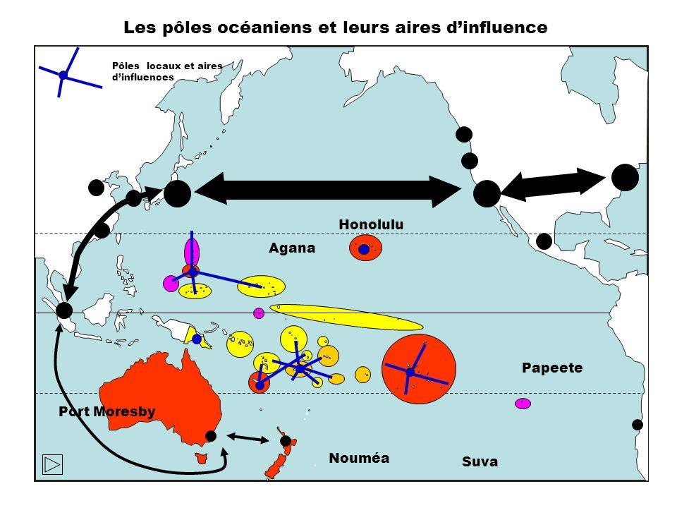 Les pôles océaniens et leurs aires d'influence