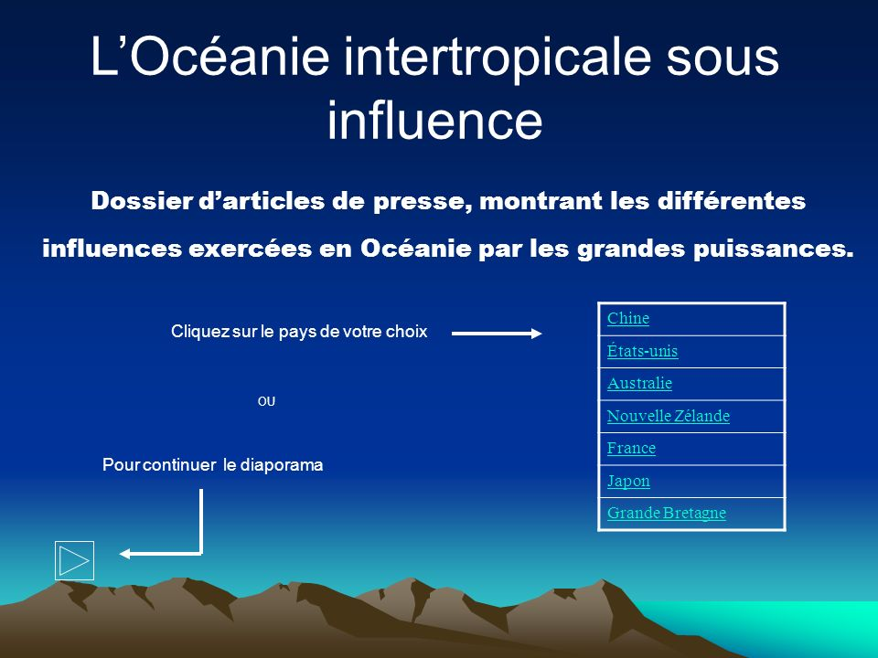L'Océanie intertropicale sous influence