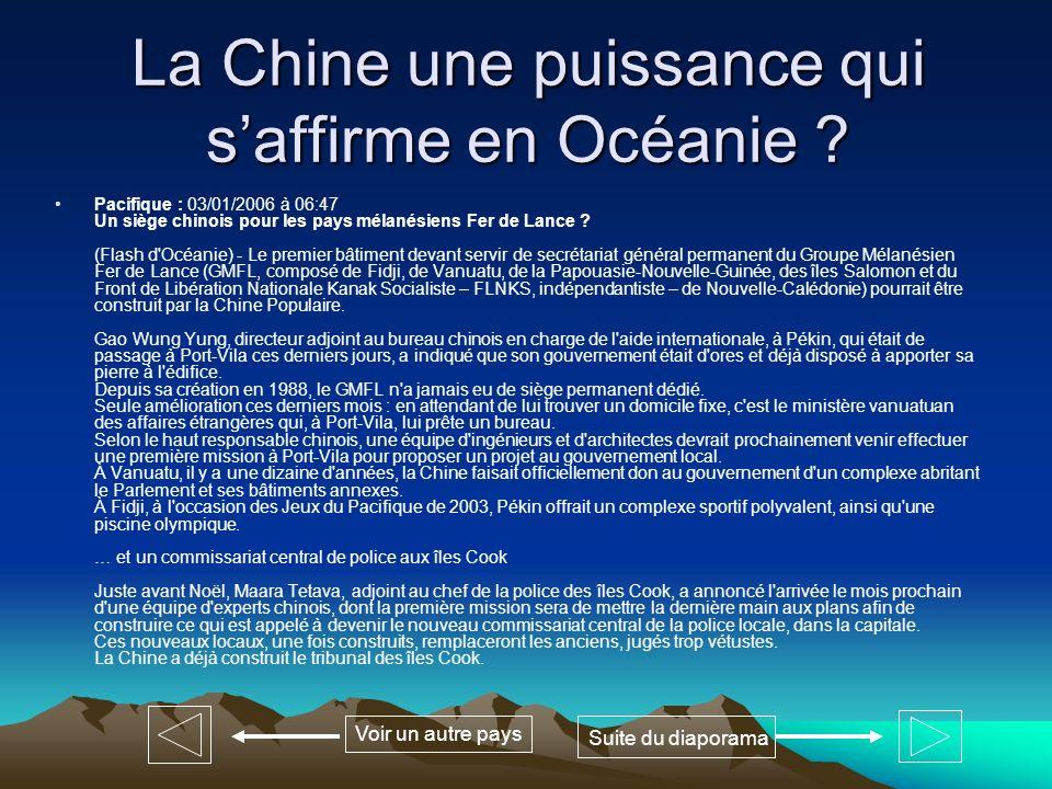 La Chine une puissance qui s'affirme en Océanie